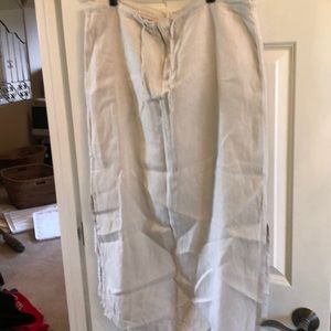 Old Navy Linen side slit skirt w/front tie&zipper